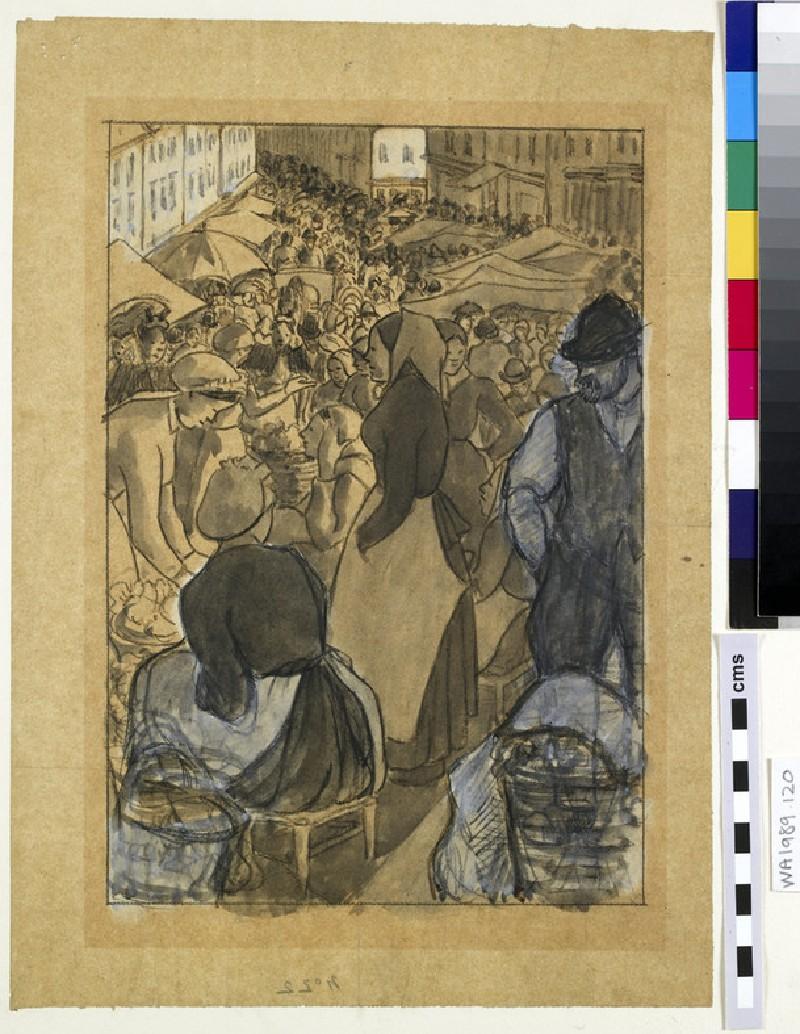 Market Scene: compositional study for the 'Market of Gisors (rue Cappeville)'