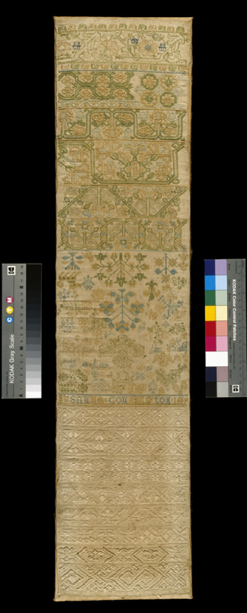 Sampler with spot motifs including peapods and hearts (WA1990.41, front           )