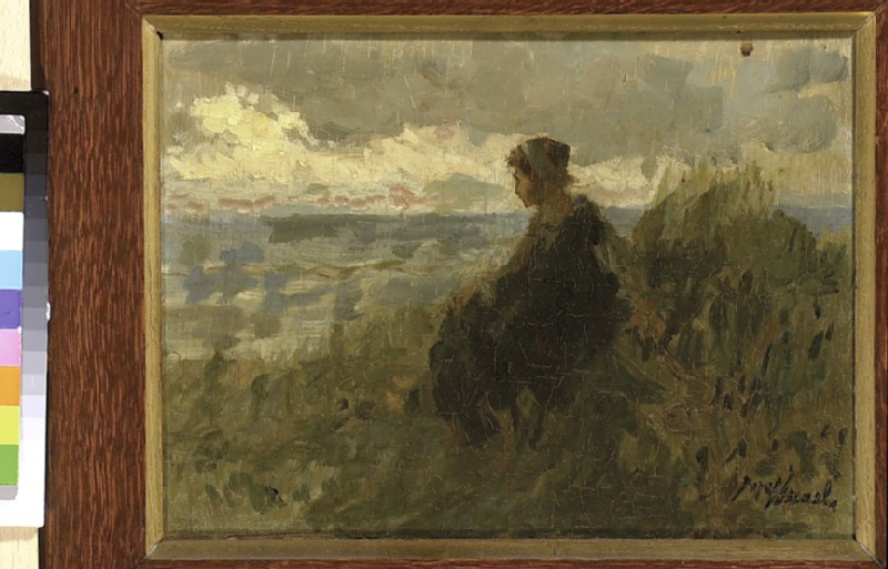 A Fishergirl on a Dune, knitting