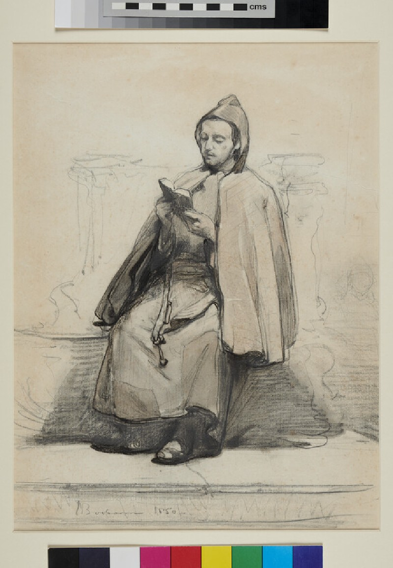 A Man in a Cape and Hood, seated, reading (WA1993.430, recto)