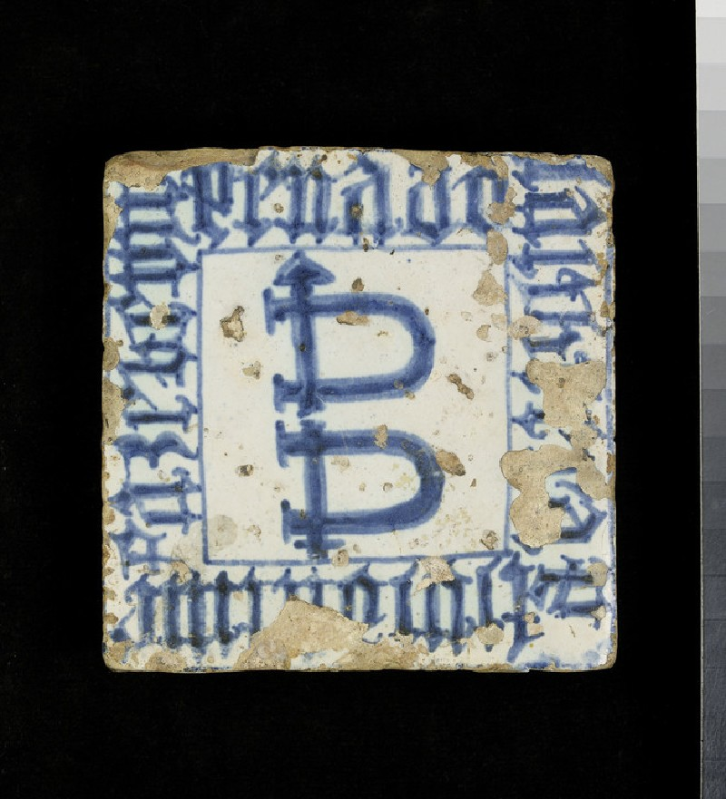 Tile with emblematic shackles and an inscription (WA1993.440)