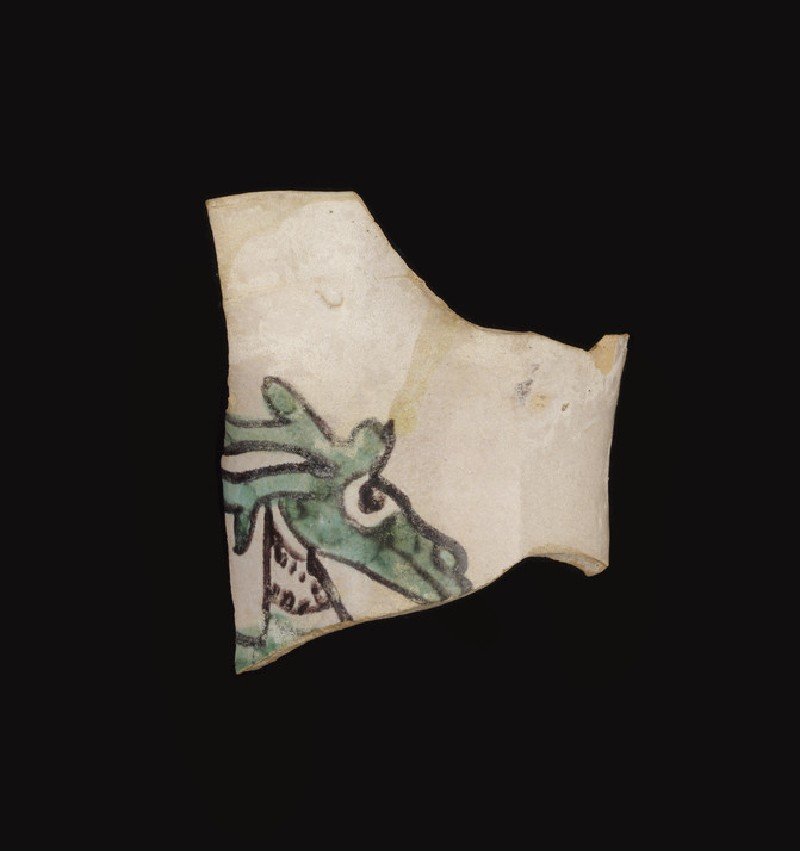 Fragment of the upper part of a jug with part of the head and horns of a stag (WA1993.368)