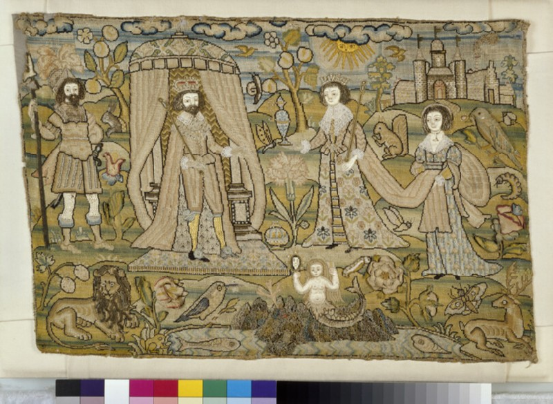 Embroidered picture with Solomon and the Queen of Sheba (WA1994.142)
