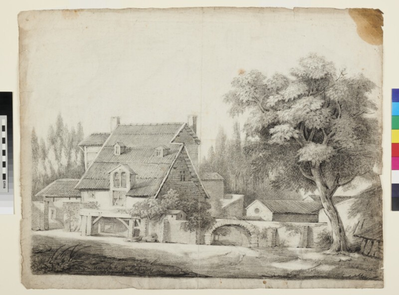 Farmhouse with a Tree on the right side