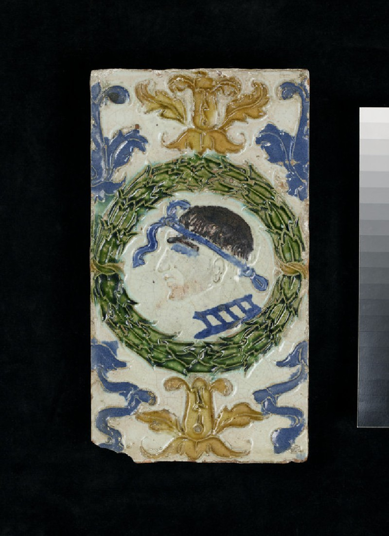 Rectangular ceiling tile with garland and classical profile head in a headband (WA1994.45.3)