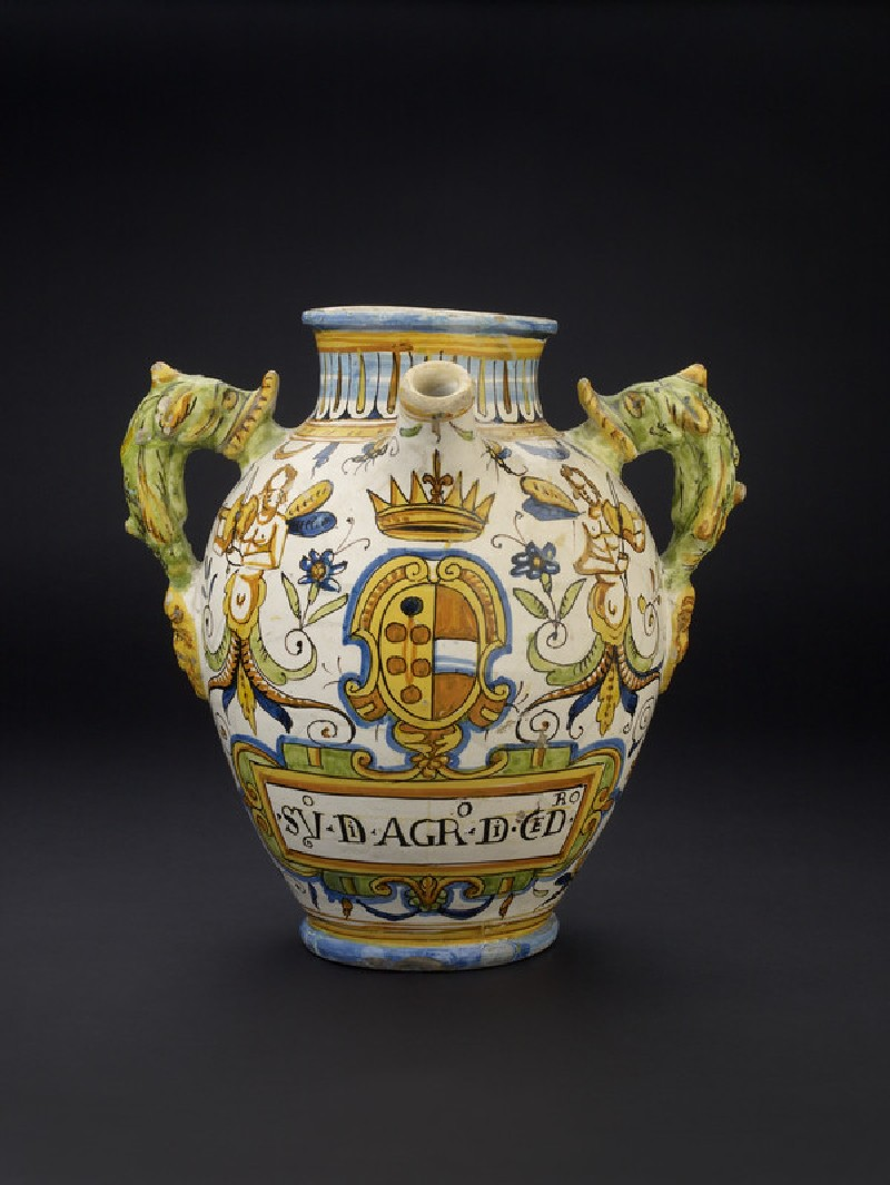 Spouted pharmacy jar with arms of Medici and Austria