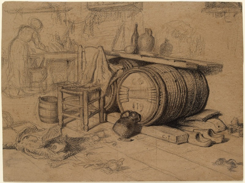Interior with a barrel and pitcher and a woman working