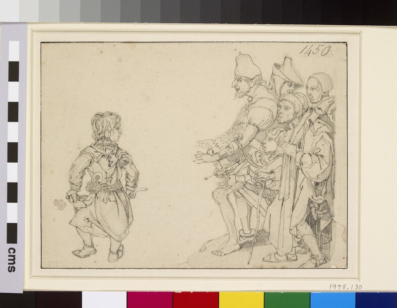 A group of six figures, after Schongauer