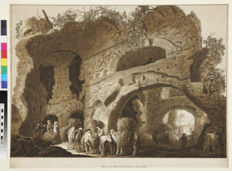 View inside the Baths of Caracalla in Rome (WA1998.156, recto)