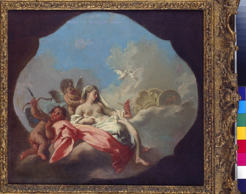Venus and Cupid with a Putto in the Clouds (WA1998.185)