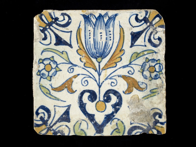 Tile with tulip and other flowers (WA1998.66)