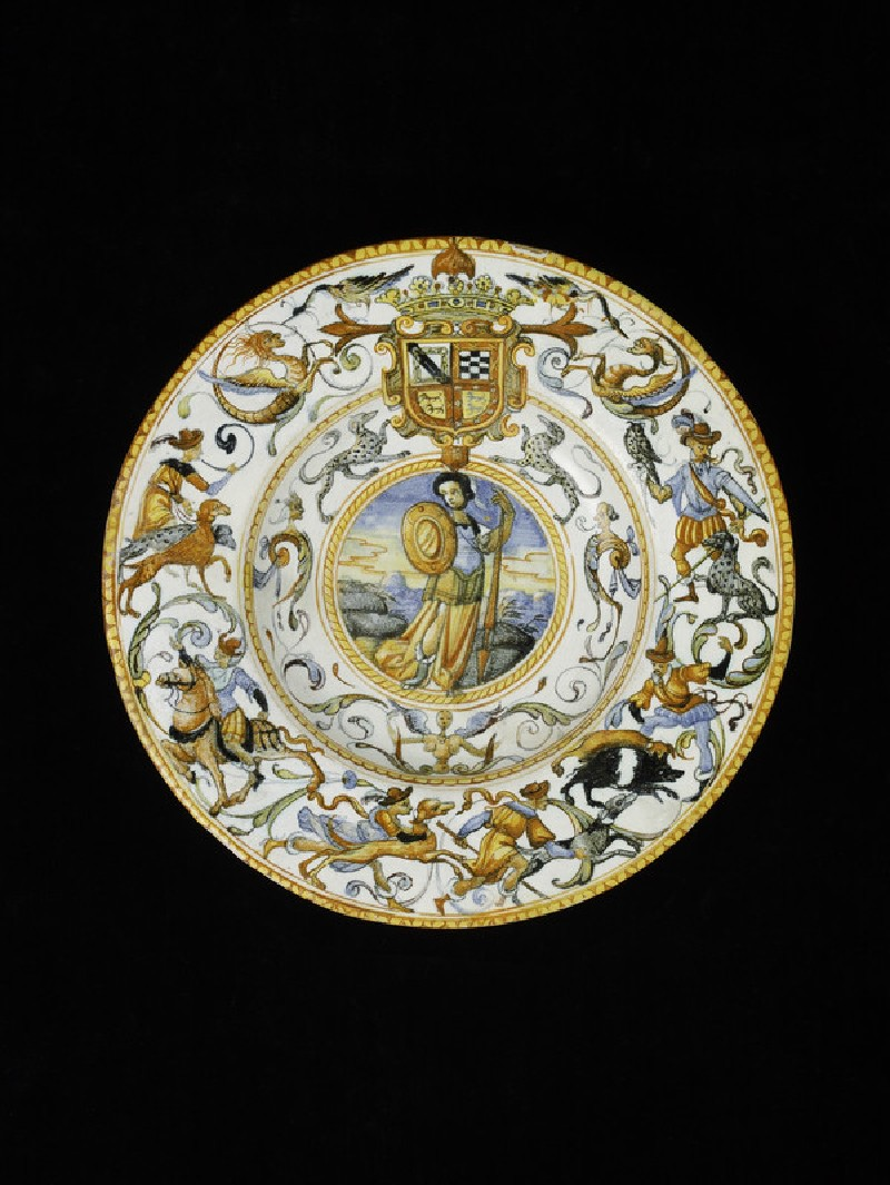 Plate with arms of Zuňiga and grotesques