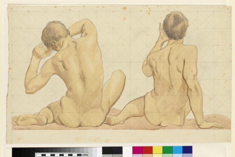 Two seated nude boys seen from behind (WA2001.213)