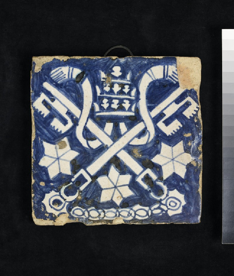 Tile with insignia of the Papacy (WA2001.39)