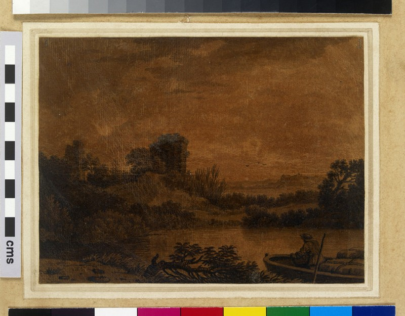 River Landscape with Ruins and a Boatman (WA2002.23)