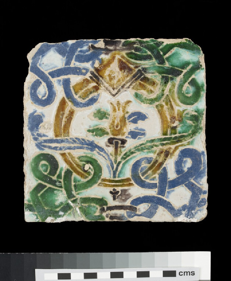 Arista tile with the Medici device of ring and feathers