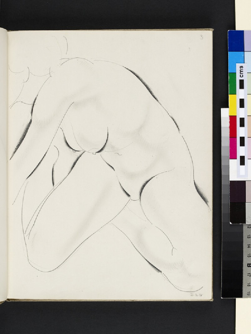 Seated female nude leaning towards left (WA2003.197.3)