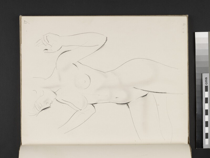 Standing female nude with hands raised and right leg bent (WA2003.197.17)