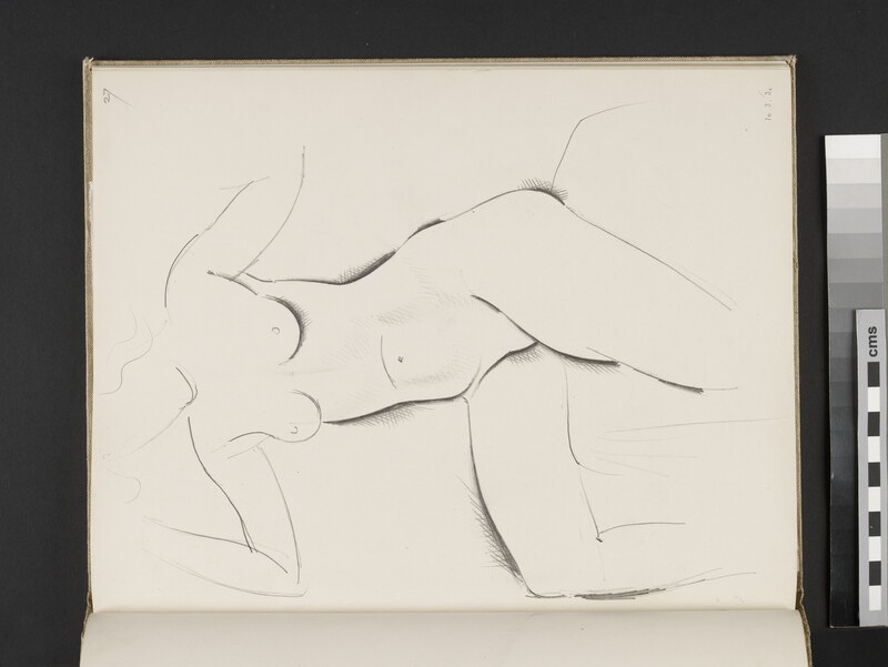 Seated female nude with arms raised (WA2003.197.27)