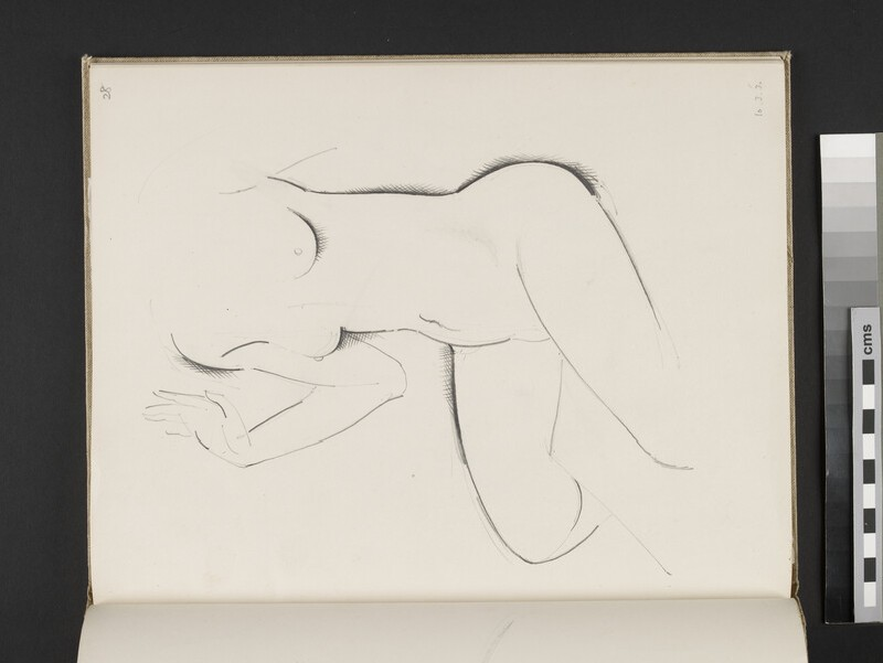 Seated female nude with right hand raised