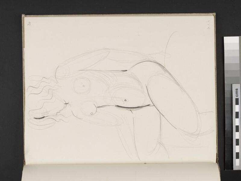 Seated female nude turning towards left