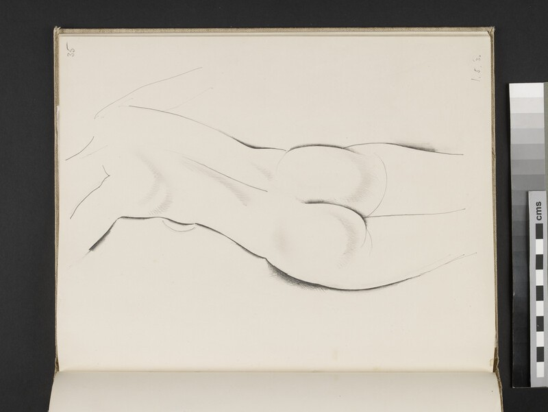 Female nude seen from the rear, with her left arm raised (WA2003.197.35)