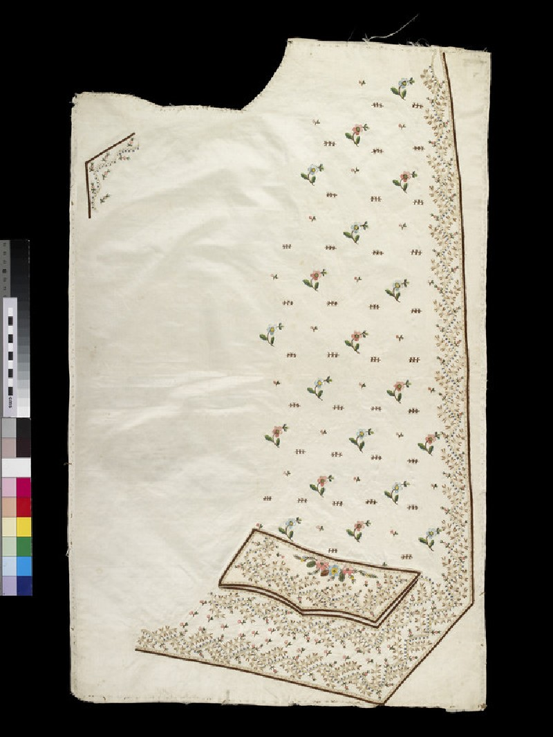 Cream satin embroidered right hand panel for a waistcoat (WA2003.204.1)