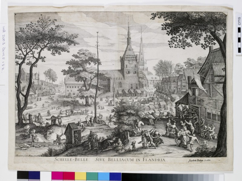 View of a village with a peasant's feast