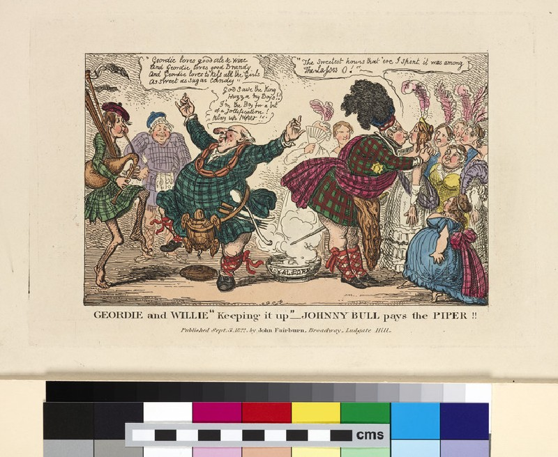Geordie and Willie in Highland costume, Johnny Bull paying the piper (WA2003.Douce.2654)