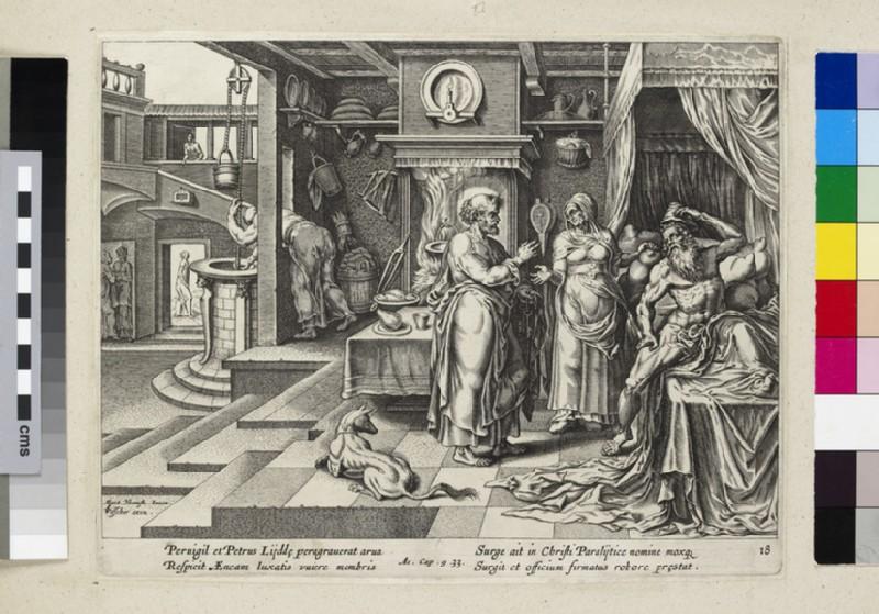 Saint Peter healing Aeneas at Lydda (Acts of Apostles 9:33) (WA2003.Douce.3048)