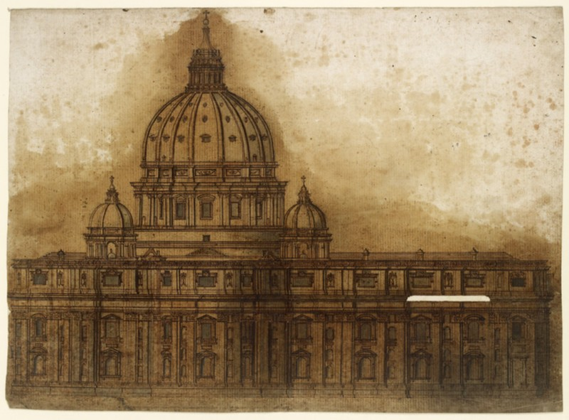 Longitudinal section of the Basilica of Saint Peter, Rome
