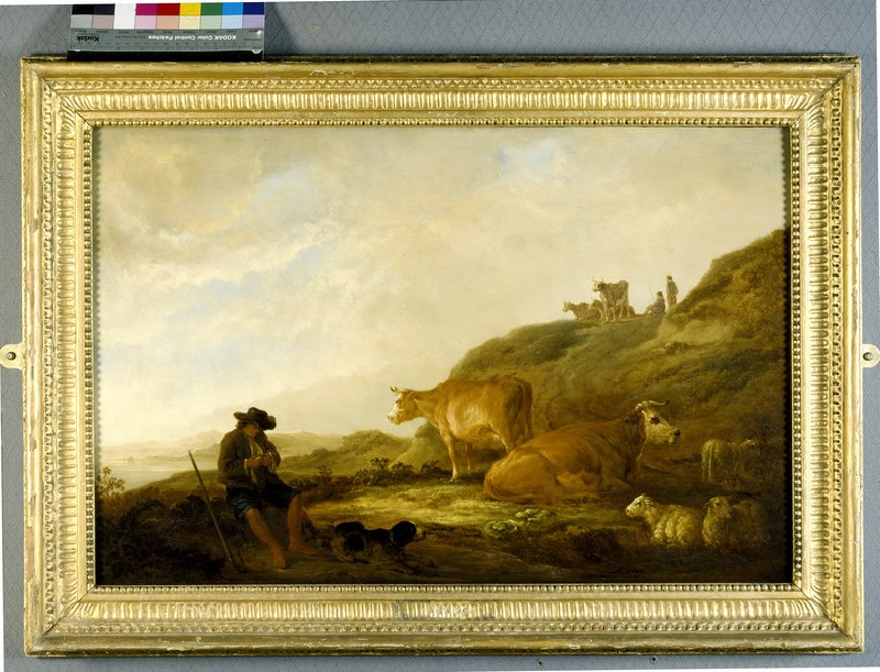 Seated Shepherd with Cows and Sheep in a Meadow (WA2004.123)