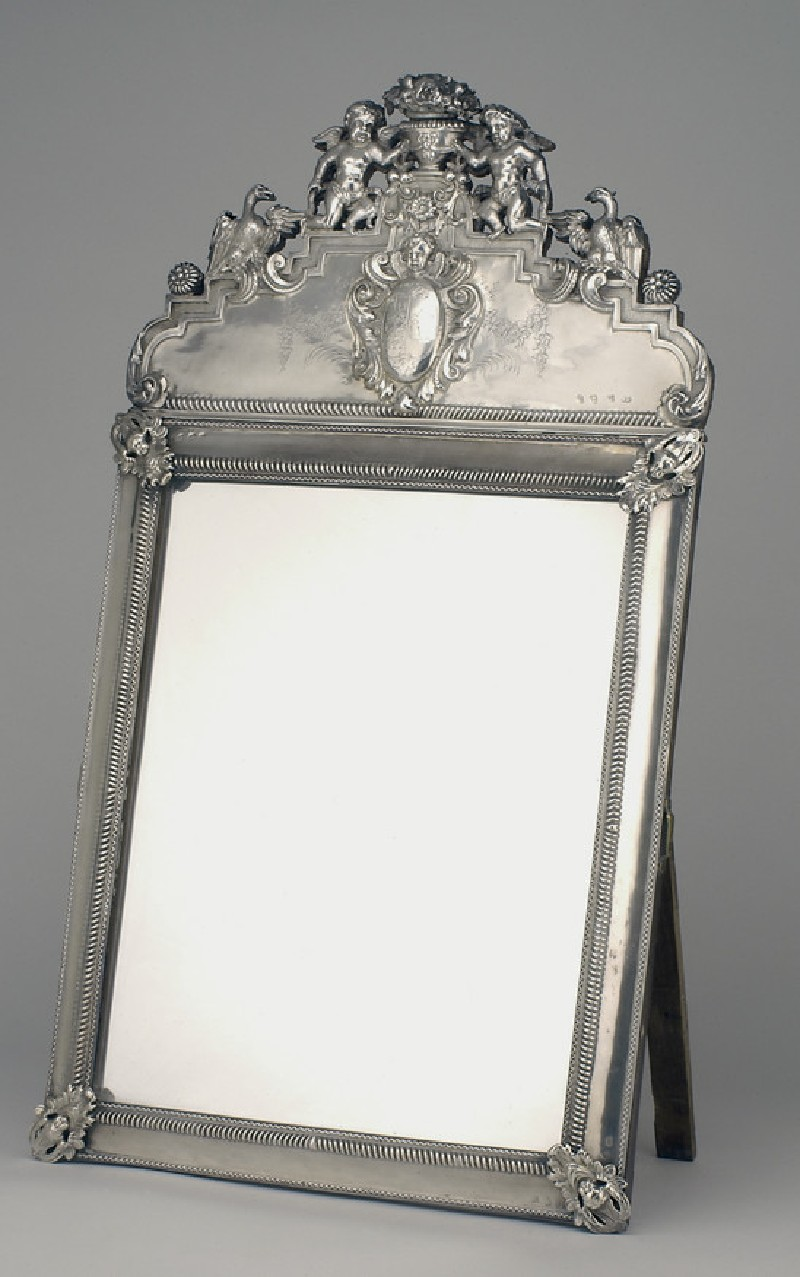 Mirror on wooden frame, in two parts