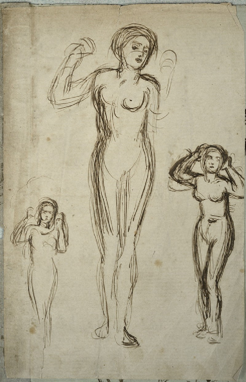 Female nude in three poses, arms raised (WA2007.6.1)