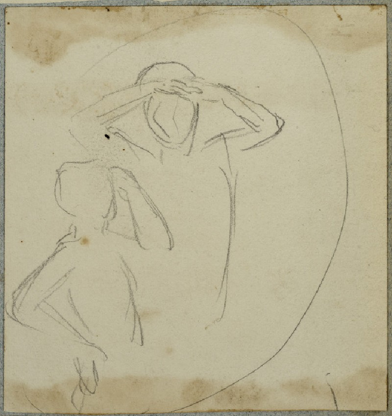 Figure with Hands to Forehead and Child with Arm raised, circle indicated