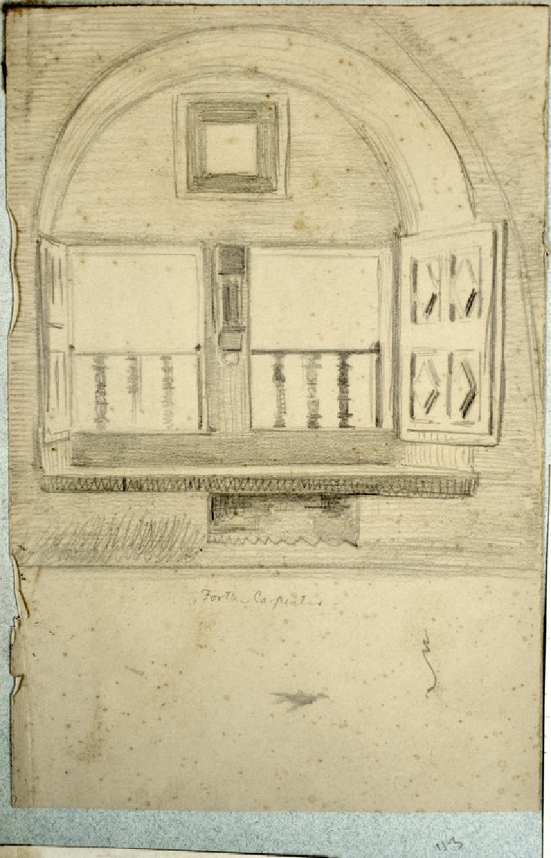 Recto: Study of a Window for 'The Shadow of Death'<br />Verso: Studies of Fig Leaves for 'The Shadow of Death'