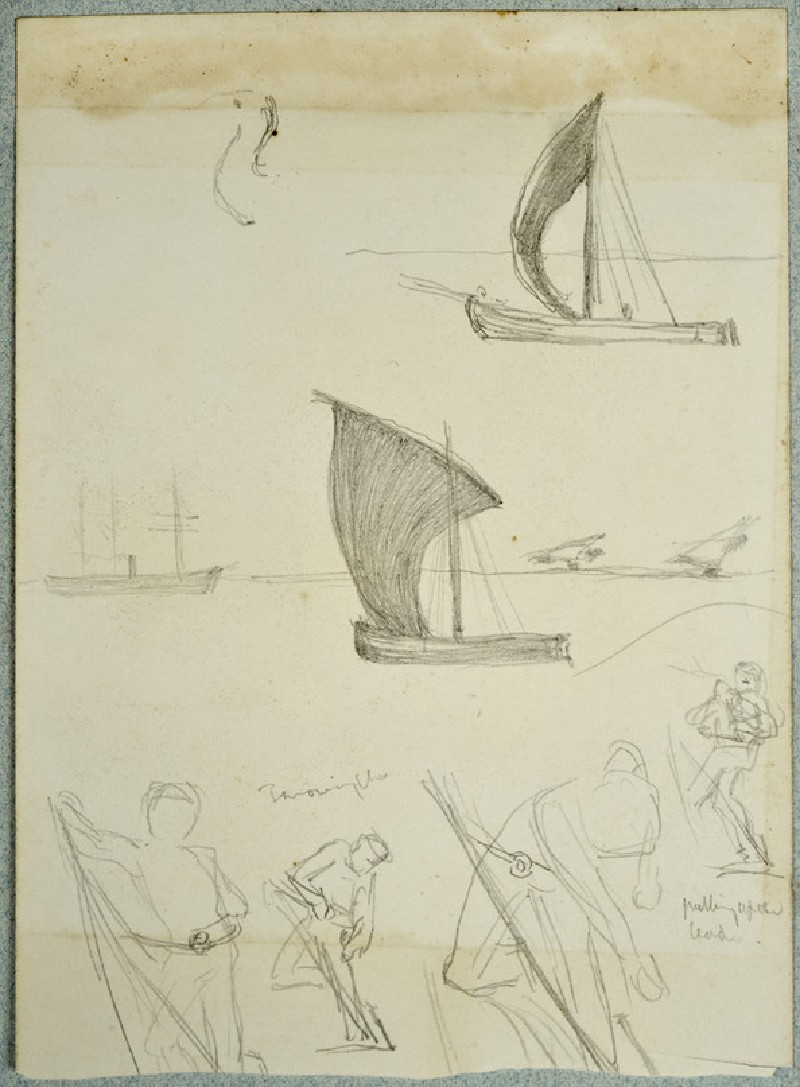 Studies of sailing Boats and Figures (WA2007.6.108)