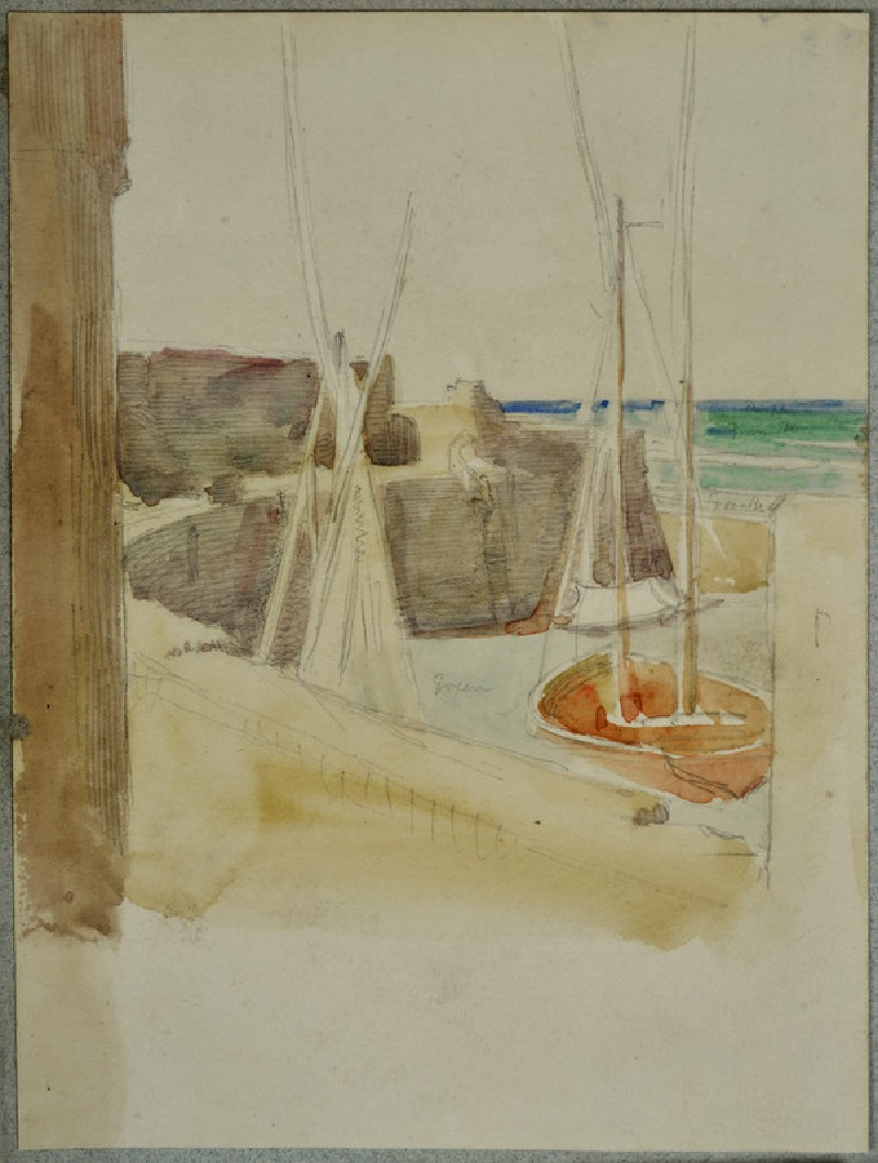 Recto: Watercolour Study of Boats in a Harbour