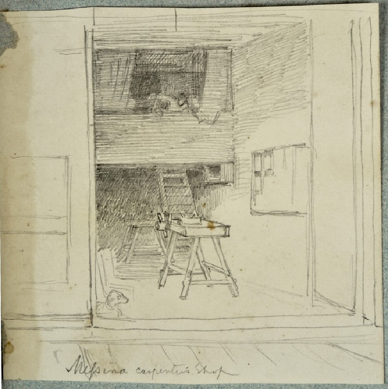 Study of the Interior of a Carpenter's Shop at Messina