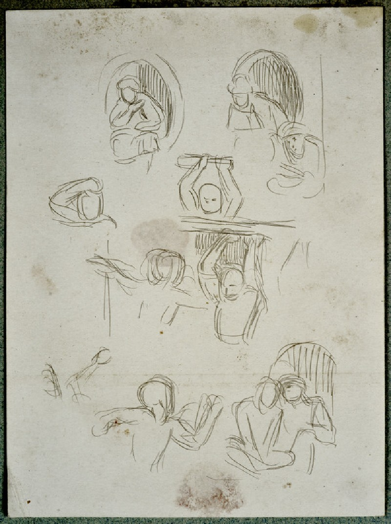 Studies of Figures on the Balconies for 'The Miracle of Sacred Fire in the Church of the Sepulchre, Jerusalem'