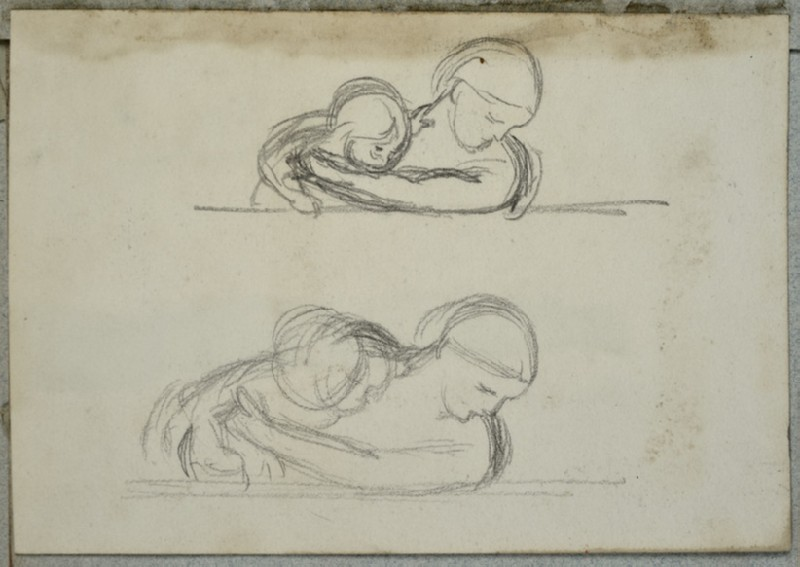 Two Studies of a Woman with her Arms round a Baby (WA2007.6.14)