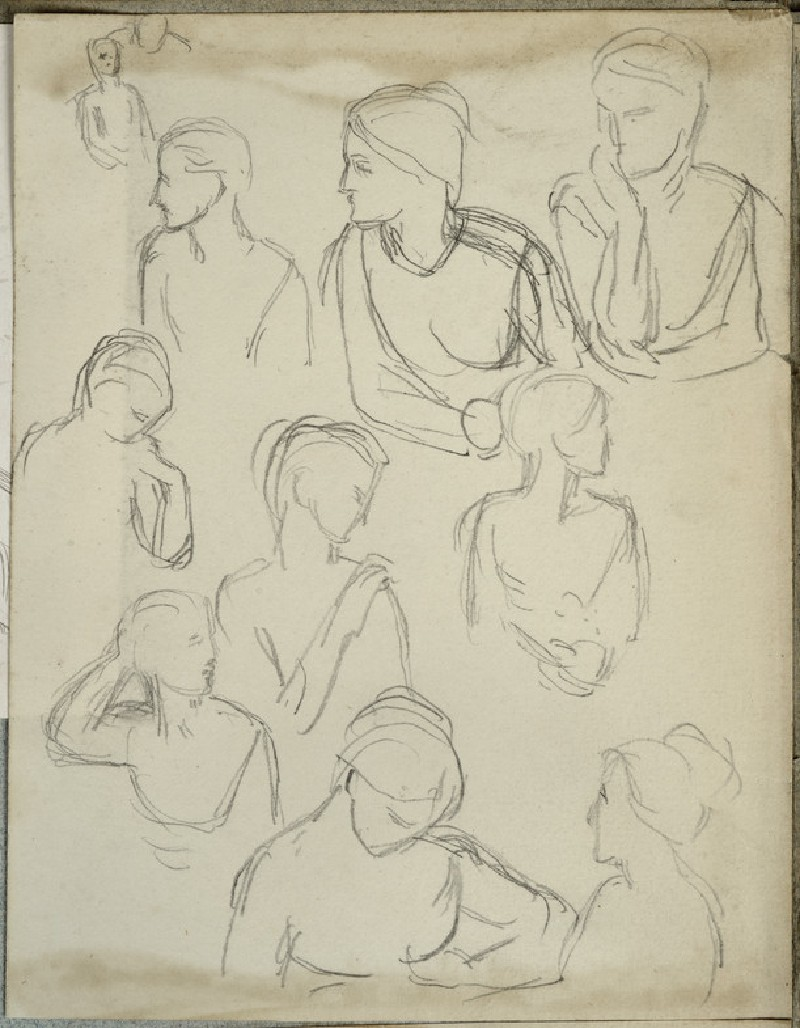 Studies of a Woman in various bust-length poses