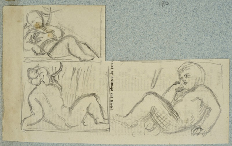 Studies of two Children and a Woman reclining