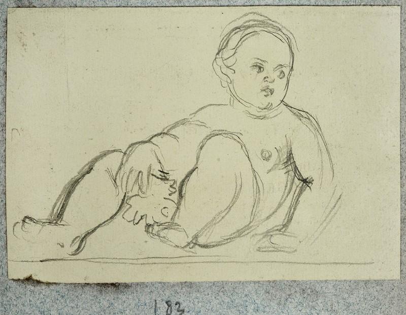 Sketch of a reclining Baby holding a Fig Leaf (WA2007.6.179)