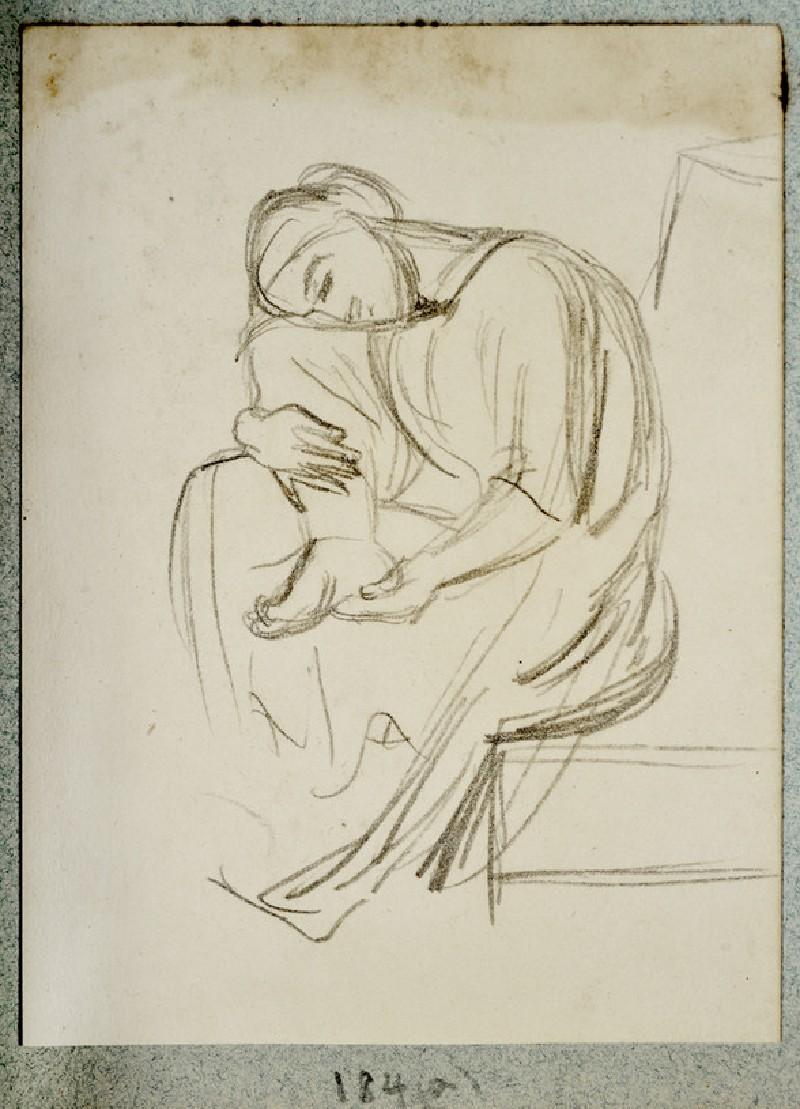 Study of a draped Woman examining her Foot (WA2007.6.180)