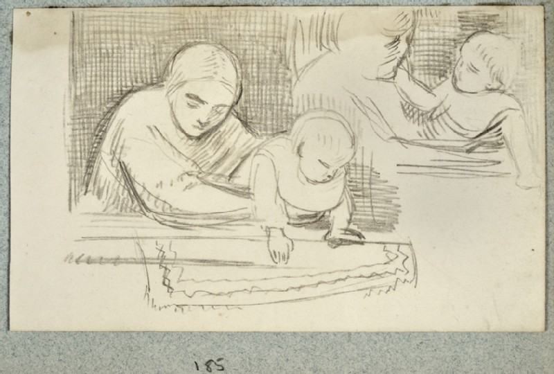Two Sketches of a Woman holding a Baby (WA2007.6.181)