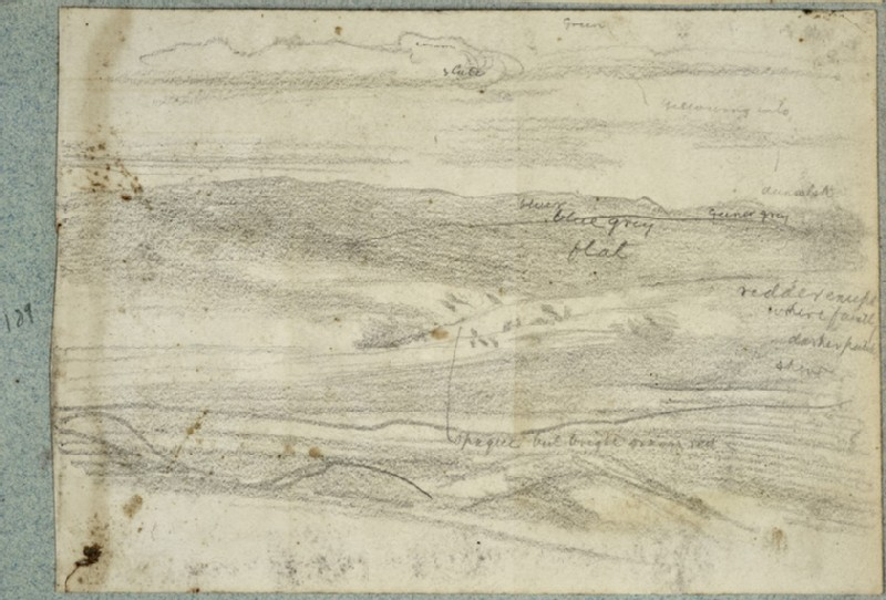 Recto: Study of Mountains and Sky