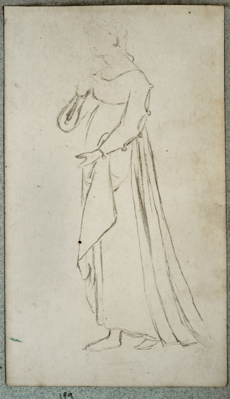 Recto: Costume Study of a Woman wearing a Medieval Gown<br />Verso: Study of a Soldier's Costume