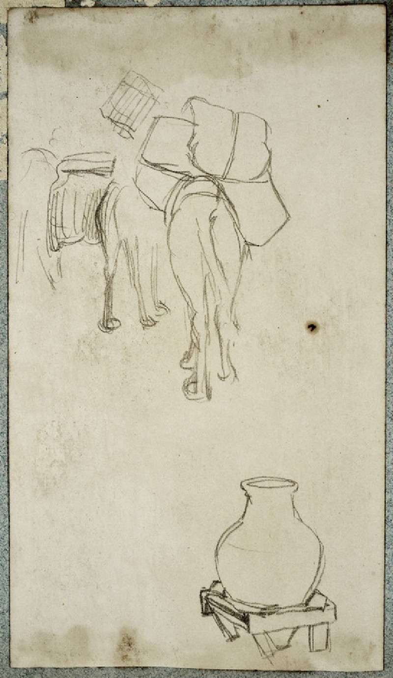 Studies at an Encampment of laden Mules and a Pot