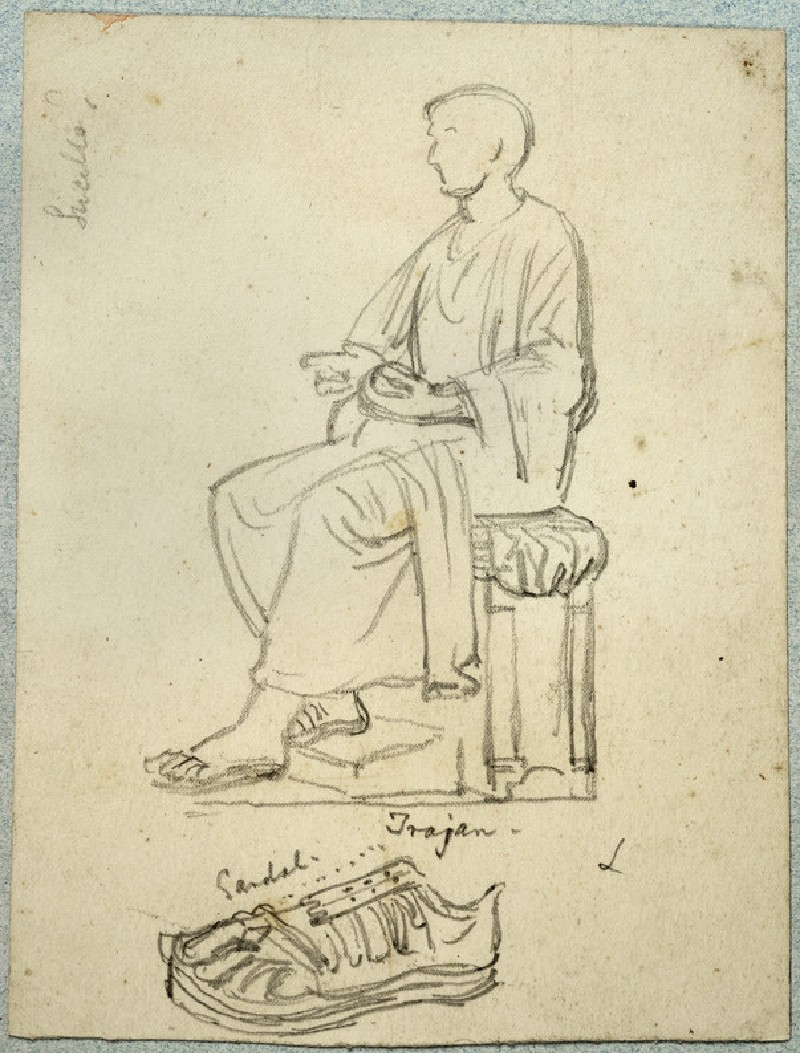 Recto: Studies of the Emperor Trajan and of a Sandal